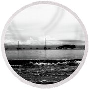 Boats And Clouds Round Beach Towel
