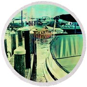 Boats And Dock Round Beach Towel by Susan Stone