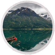 Round Beach Towel featuring the photograph Boats And Mountain Reflection In The Water In Panorama by IPics Photography