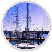 Boats And Ships Round Beach Towel