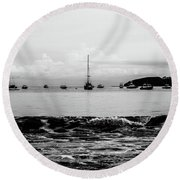 Boats And Waves 2 Round Beach Towel