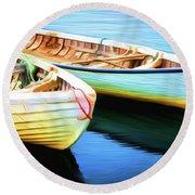 Boats Round Beach Towel