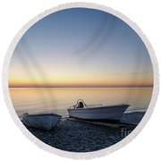 Round Beach Towel featuring the photograph Boats At A Colorful Bay by Kennerth and Birgitta Kullman