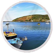 Round Beach Towel featuring the photograph Boats At Friendly Bay by Nareeta Martin