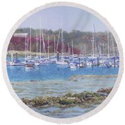 Round Beach Towel featuring the painting Boats At Hamble Marina by Martin Davey