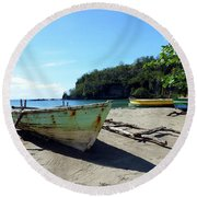 Round Beach Towel featuring the photograph Boats At La Soufriere, St. Lucia by Kurt Van Wagner