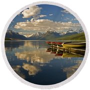 Boats At Lake Mcdonald Round Beach Towel