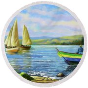 Round Beach Towel featuring the painting Boats At Lake Victoria by Anthony Mwangi