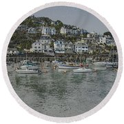 Round Beach Towel featuring the photograph Boats At Looe by Brian Roscorla