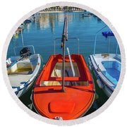 Boats At Rovinj Round Beach Towel