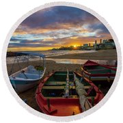 Boats At Sunset, Bahia, Brazil Round Beach Towel