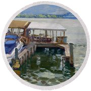 Boats At The Shores Round Beach Towel