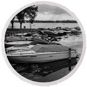 Boats At Wayzata Round Beach Towel by Susan Stone