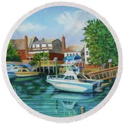 Boats Behind Cross Bay Blvd. Round Beach Towel
