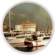 Round Beach Towel featuring the photograph Boats Catalina Island California by Floyd Snyder