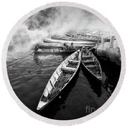 Boats Round Beach Towel by Charuhas Images