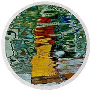 Boats In A Reflection Round Beach Towel