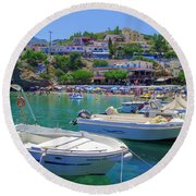 Boats In Bali Round Beach Towel