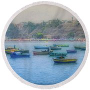 Round Beach Towel featuring the photograph Boats In Blue Twilight - Lima, Peru by Mary Machare