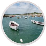 Boats In Habour Round Beach Towel