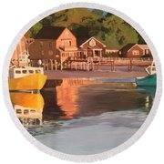 Boats In Kennebunkport Harbor Round Beach Towel