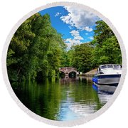 Boats In Norwich Round Beach Towel