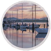 Boats In Pastel Round Beach Towel