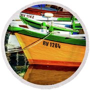 Boats In Rovinj Round Beach Towel