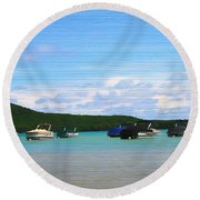 Boats In Sleeping Bear Bay Wood Texture Round Beach Towel by Dan Sproul