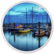 Boats In The Bay Round Beach Towel