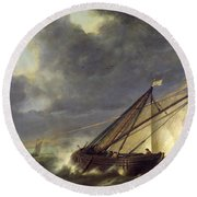 Boats In The Estuary Of Holland Diep In A Storm Round Beach Towel