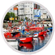 Boats In The Harbor - La Coruna Round Beach Towel by Mary Machare