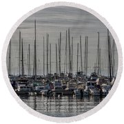 Round Beach Towel featuring the photograph Boats In The Izola Marina - Slovenia by Stuart Litoff