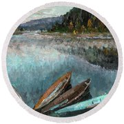Boats In The Kin Round Beach Towel