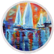 Boats In The Sunset Round Beach Towel