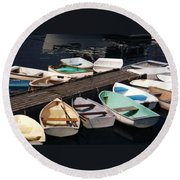 Boats In Waiting Round Beach Towel
