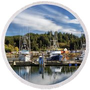 Round Beach Towel featuring the photograph Boats In Winchester Bay by James Eddy