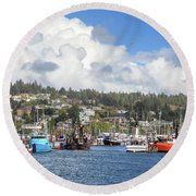 Boats In Yaquina Bay Round Beach Towel by James Eddy