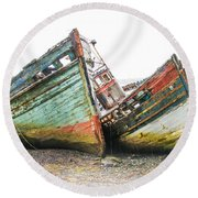Boats Isle Of Mull 4 Round Beach Towel