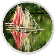 Boats Landscape Round Beach Towel