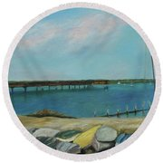 Boats Of Salt Run Too Round Beach Towel