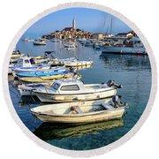 Boats Of The Adriatic, Rovinj, Istria, Croatia  Round Beach Towel
