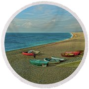 Round Beach Towel featuring the photograph Boats On Chesil Beach by Anne Kotan
