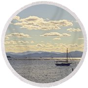 Boats On Lake Champlain Vermont Round Beach Towel
