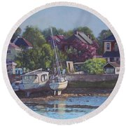 Round Beach Towel featuring the painting Boats On Riverside Park Bank by Martin Davey