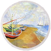 Round Beach Towel featuring the painting Boats On The Beach At Saintes-maries After Van Gogh by Rodney Campbell