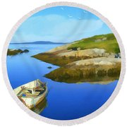 Boats Waiting In Calm Waters Round Beach Towel by Ken Morris