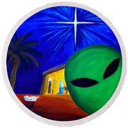 Round Beach Towel featuring the painting Bob At The Manger by Lola Connelly