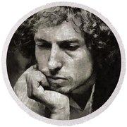 Bob Dylan By Mary Bassett Round Beach Towel