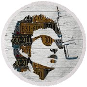 Bob Dylan Minnesota Native Recycled Vintage License Plate Portrait On White Wood Round Beach Towel by Design Turnpike